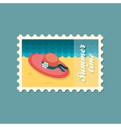 Beach hat flat stamp summertime vector image vector image