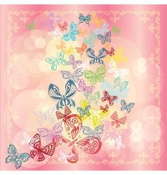 Butterfly set isolated on rose background vector