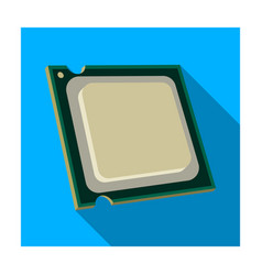 Central processing unit icon in flat style vector