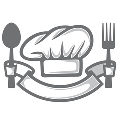 chef hat with fork and spoon vector image vector image