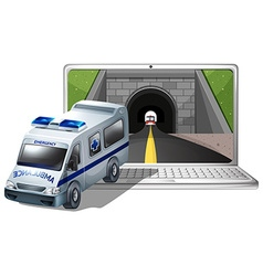 Computer screen with ambulance and tunnel vector image vector image