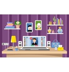 Desktop of the woman vector