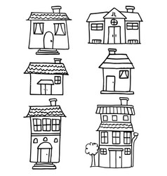 Doodle of house and building hand draw vector