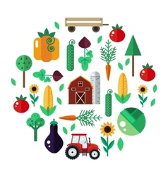 Farm with tractor vegetables barn trees vector