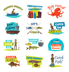 fishing cartoon icon set with fisherman and fish vector image