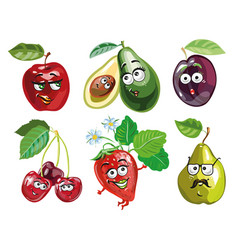 Funny fruit cartoon isolated on white background vector