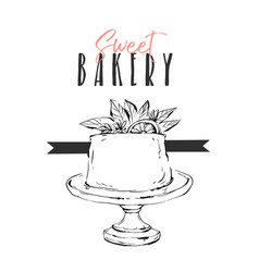 Hand drawn abstract unusual sweet bakery vector