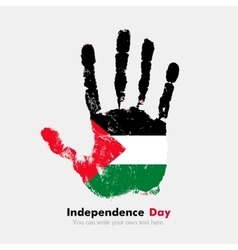 Handprint with the flag of palestine in grunge vector