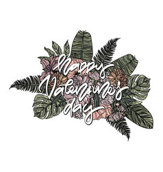 happy valentines day card with bouquet vector image vector image