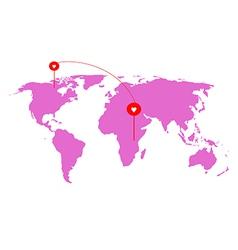 Heart from world on atlas world map vector