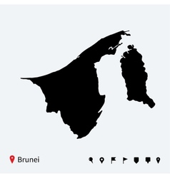 High detailed map of Brunei with navigation pins vector image