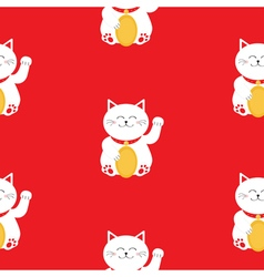 Japanese maneki neco kitten waving hand paw lucky vector