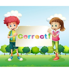 Kids holding a signboard vector image