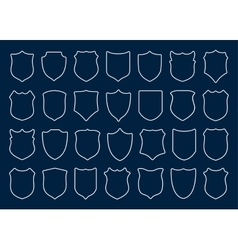 Large set of white shields on blue background vector image
