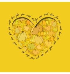 Love card Golden heart design with pumpkin vector image