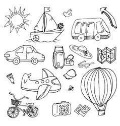 pictures of transport and tourist trips vector image vector image