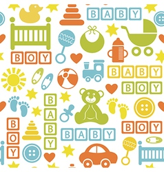 Seamless pattern with icons for baby boy vector