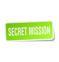 Secret mission square sticker on white vector