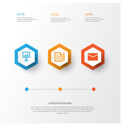 Trade icons set collection of envelope contract vector
