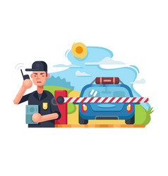 Traffic police checkpoint vector