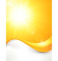 Vibrant hot summer sun with lens flare and vector image
