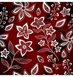White floral pattern on red mosaic background vector image