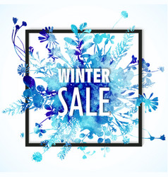 winter sale banner with blue watercolor bouquet - vector image