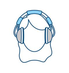 woman with headphones vector image