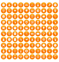 100 interface pictogram icons set orange vector