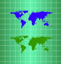 Silhouette eco globe map material design vector