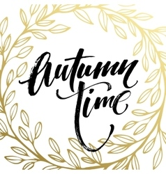 Autumn hand written lettering golden black and vector