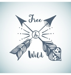 Hand drawn with arrows in boho style vector