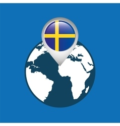 World map with pointer flag sweden vector