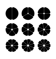 Circle segments set Black with rounded corners vector image