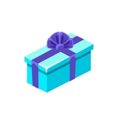 Light Blue With Dark Blue Bow Gift Box With vector image