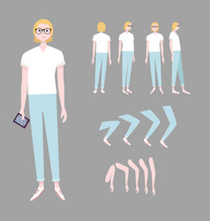 blonde woman character animation set vector image