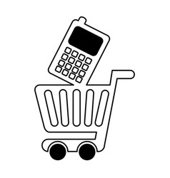 Shopping cart with cellphone vector