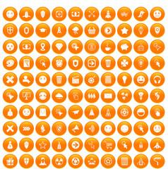 100 interface pictogram icons set orange vector