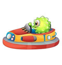 A one-eyed monster riding a car vector image