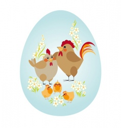 Easter egg chicken family vector