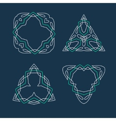 Set of outline emblems and badges vector