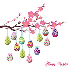 Easter eggs hanging the wire on the tree vector