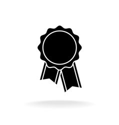 Simple black award badge silhouette logo vector
