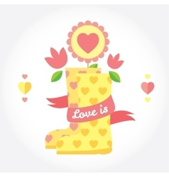Love is cute picture with boots flowers and vector