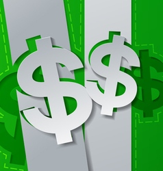 Dollar signs cut from white paper on green vector