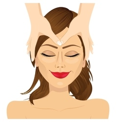 Woman enjoying relaxing facial massage treatment vector