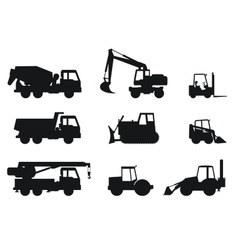 Construction machines silhouettes vector