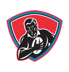 retro rugby shield vector image