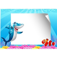 Fish cartoon with blank sign vector image