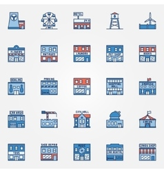 Colorful town building icons vector